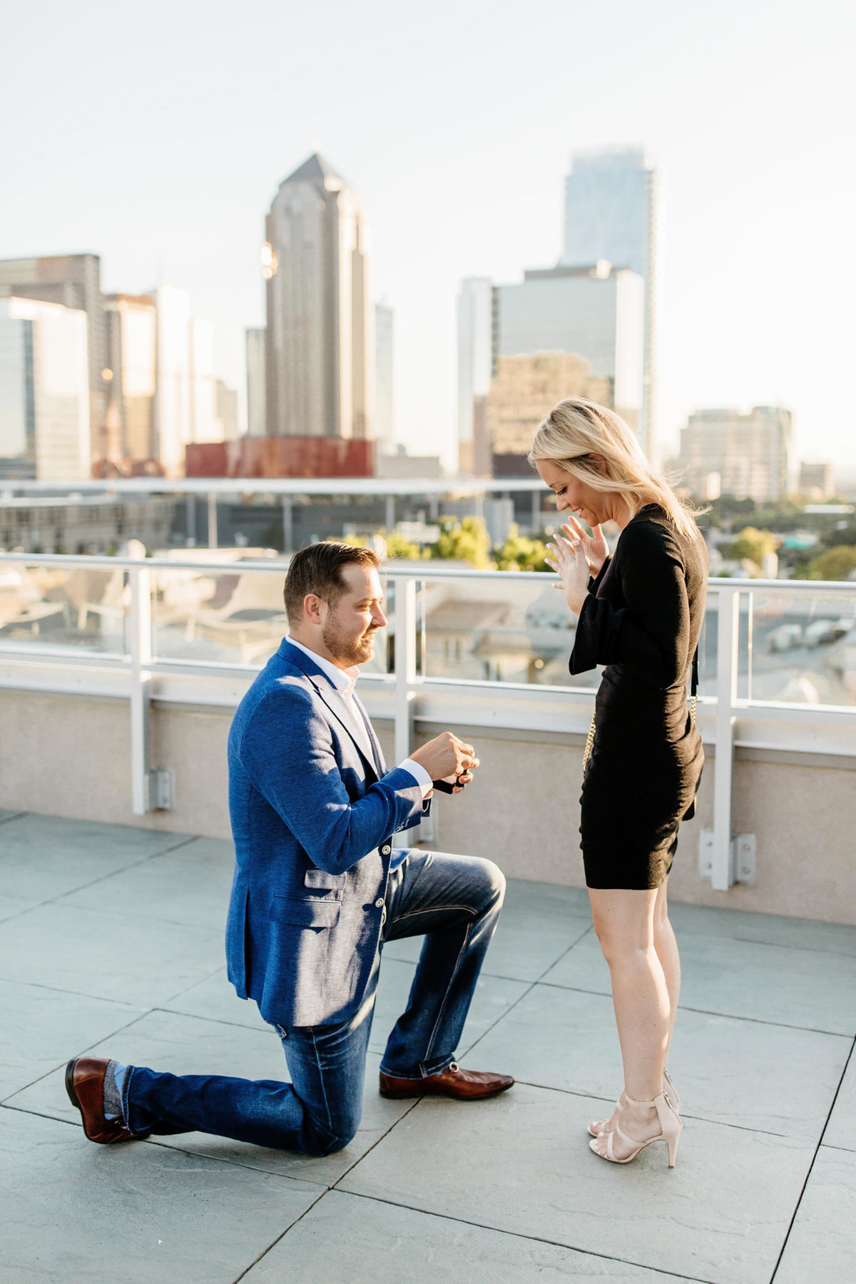 Eric & Megan - Downtown Dallas Rooftop Proposal & Engagement Session-33