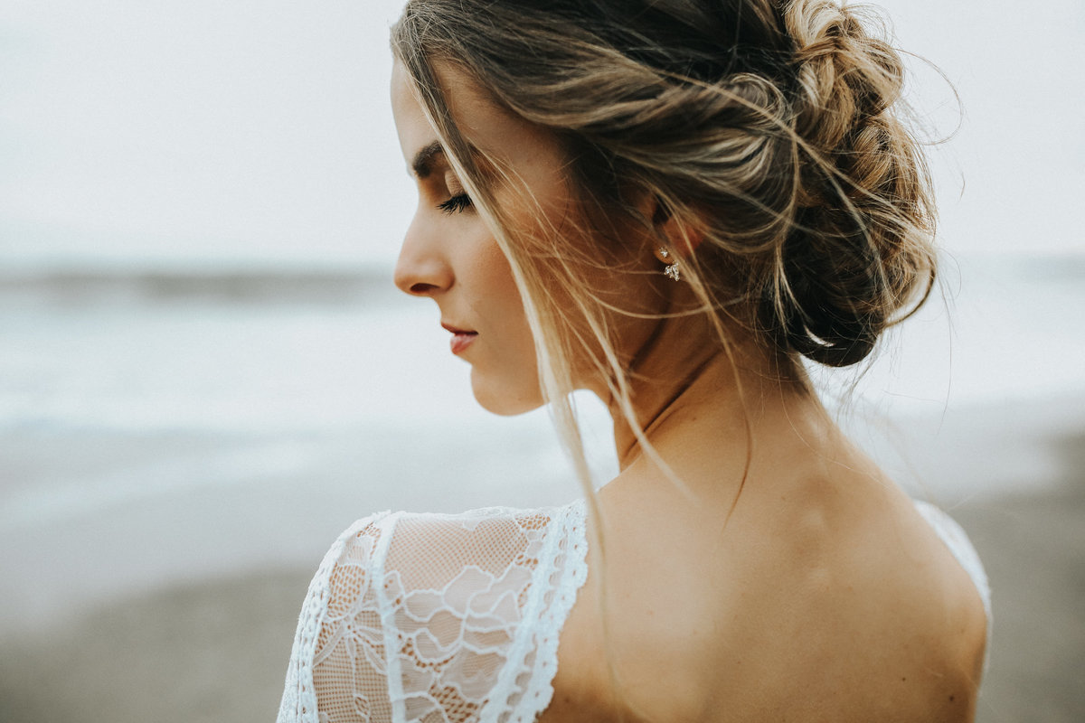 Bridal portrait in Grace Loves Lace wedding dress during her elopement on the Washington Coast.