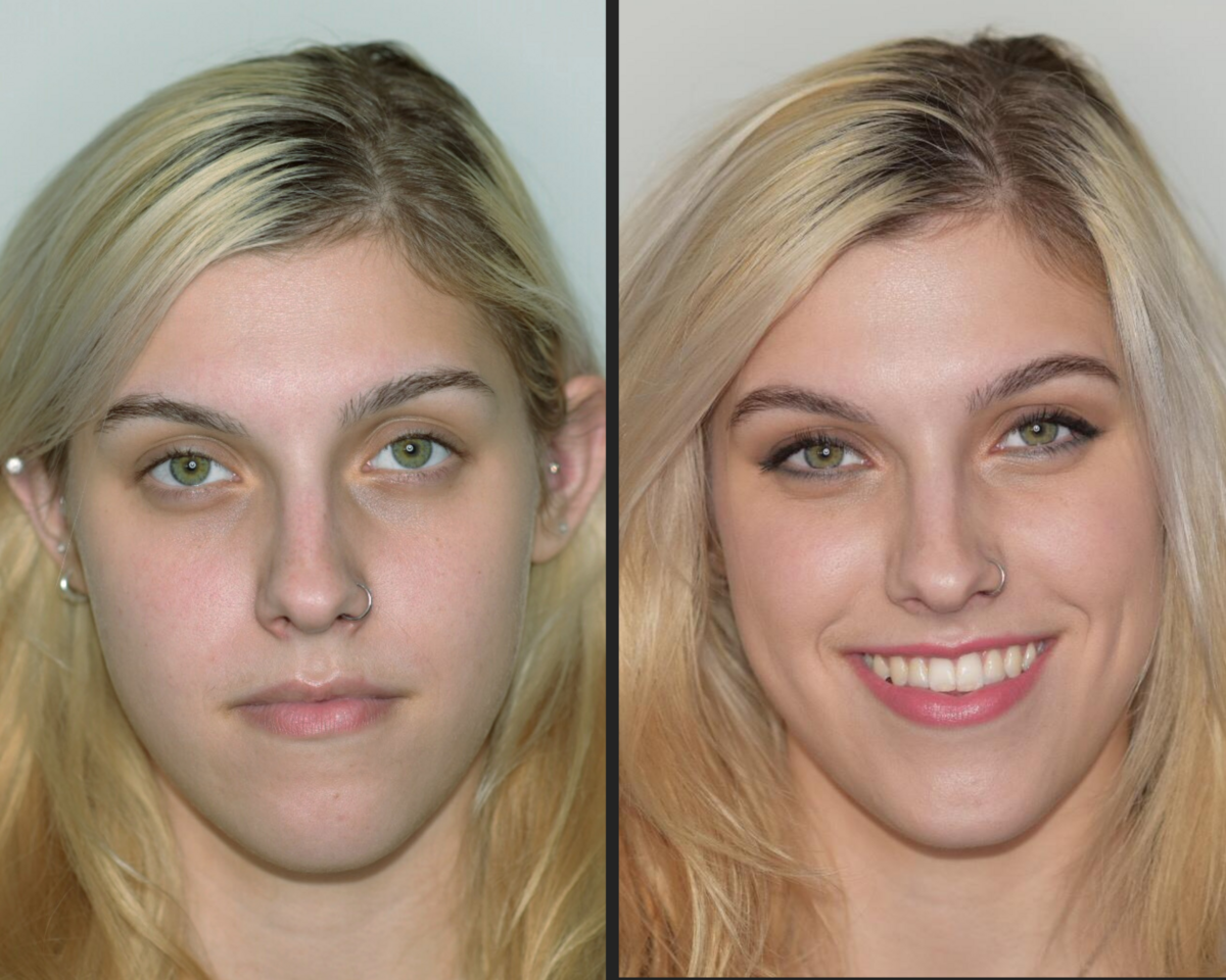 before and after makeup blond green eyed beauty with brown and cooper and a pink lip