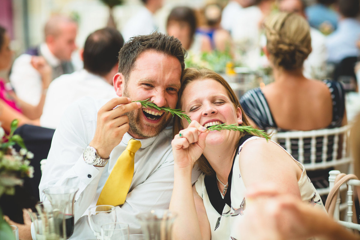 wedding guests being silly at thornbridge hall