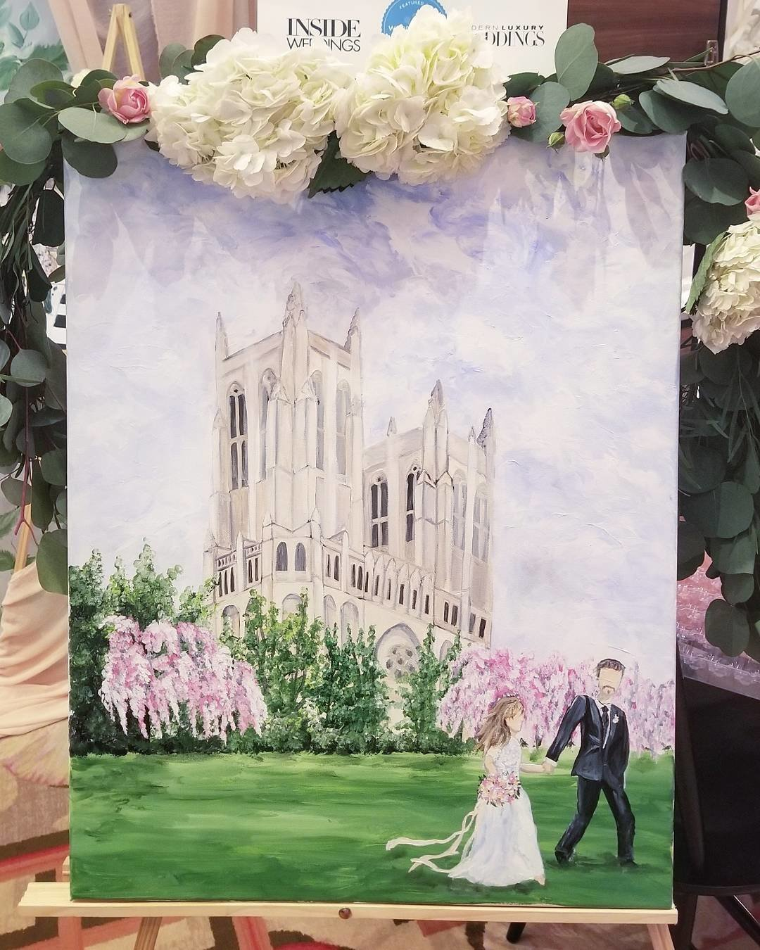 Washington National Cathedral Live Wedding Painting By Brittany Branson Live Wedding Painter Washington DC