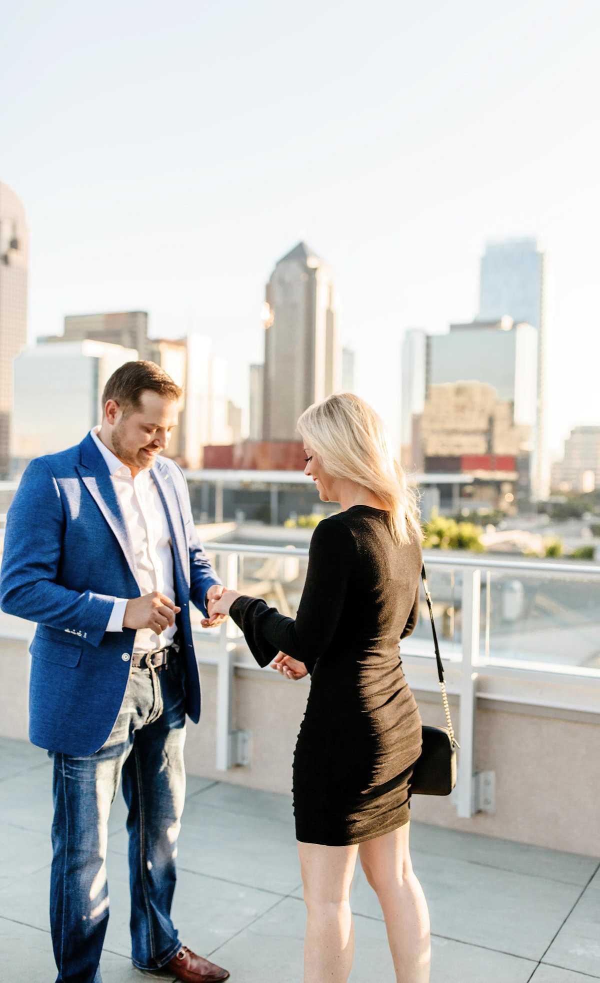 Eric & Megan - Downtown Dallas Rooftop Proposal & Engagement Session-18