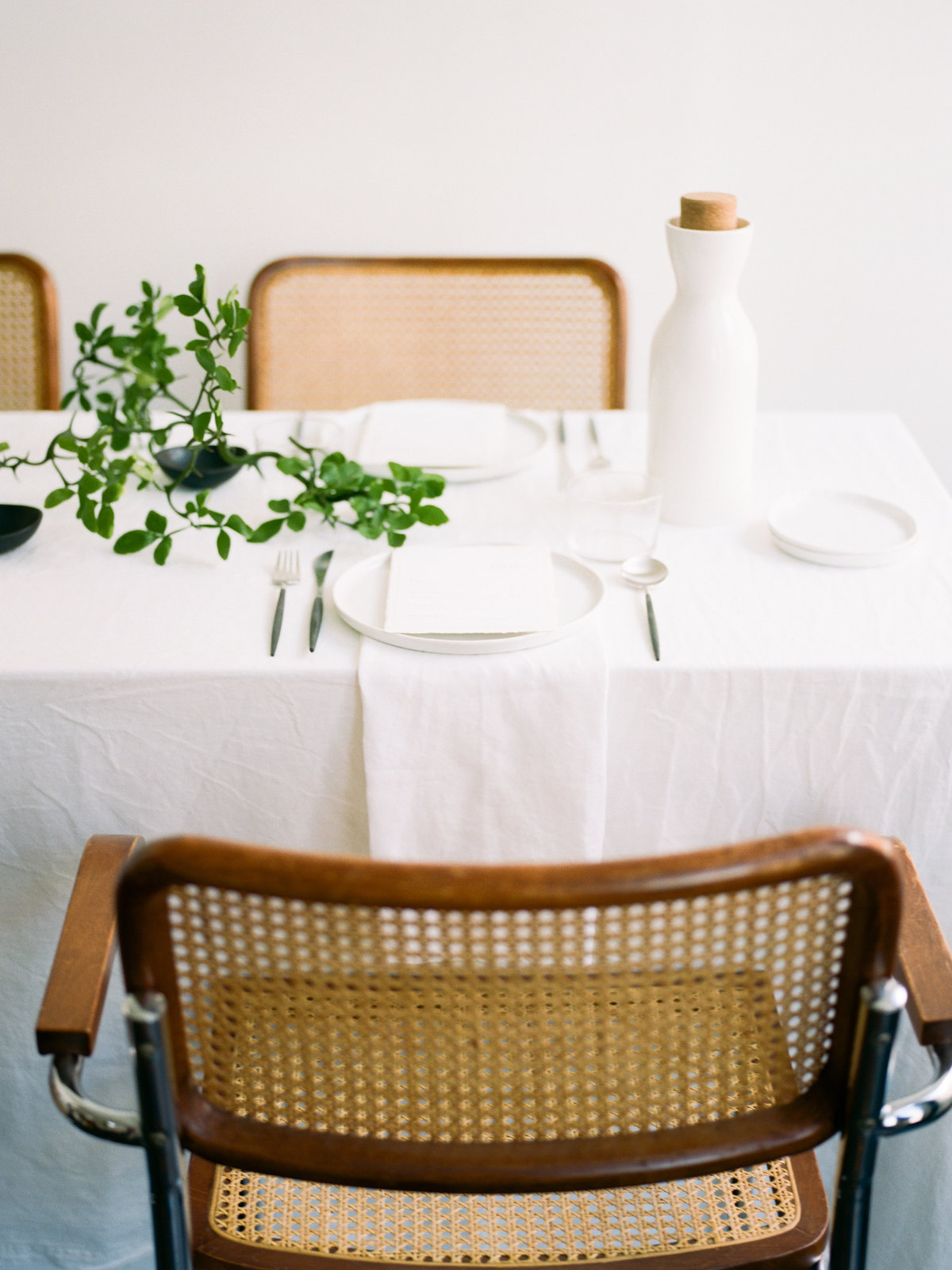 Wicker Chairs, white linen