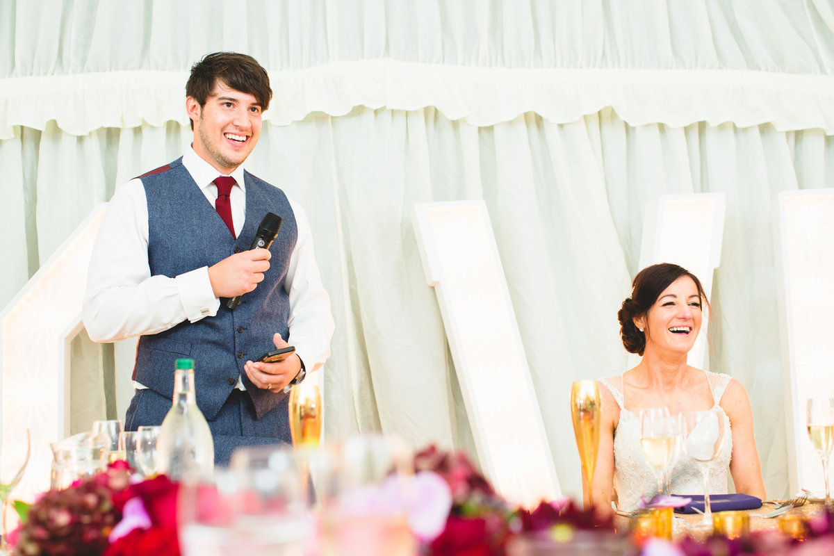 funny wedding speeches in marquee