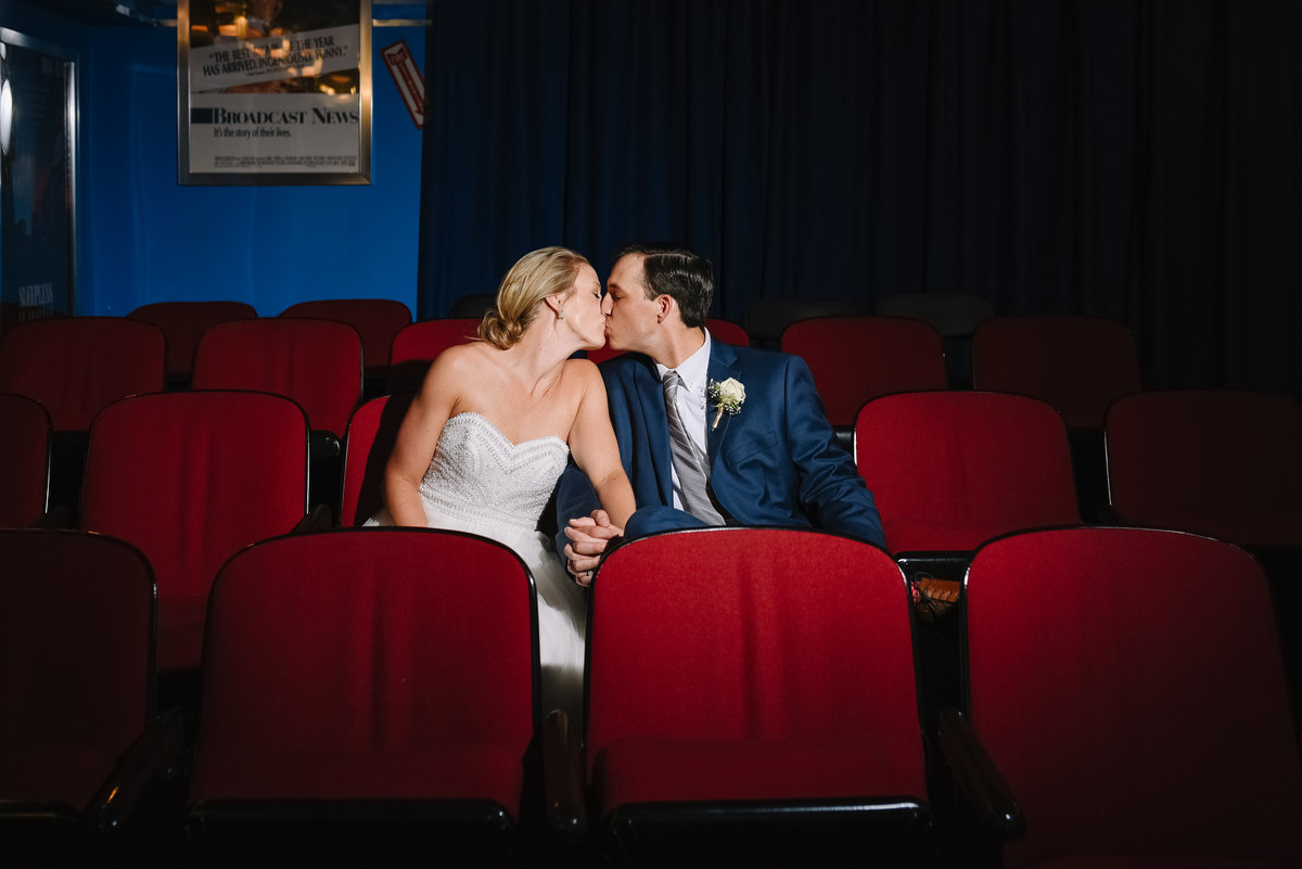 Baltimore museum of industry wedding couple in movie theater