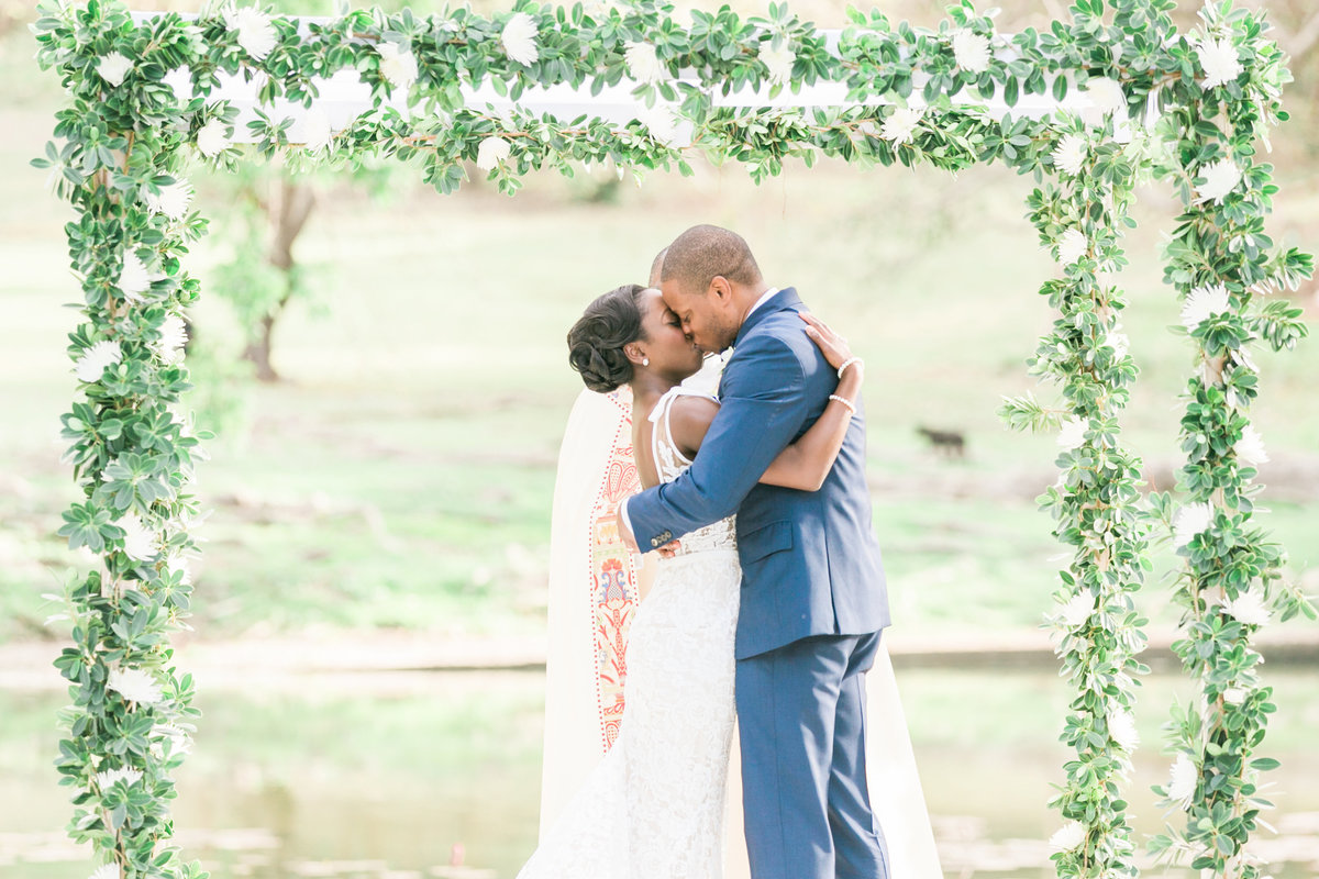 Couple's first kiss at wedding ceremony in Barbados, Codrington College