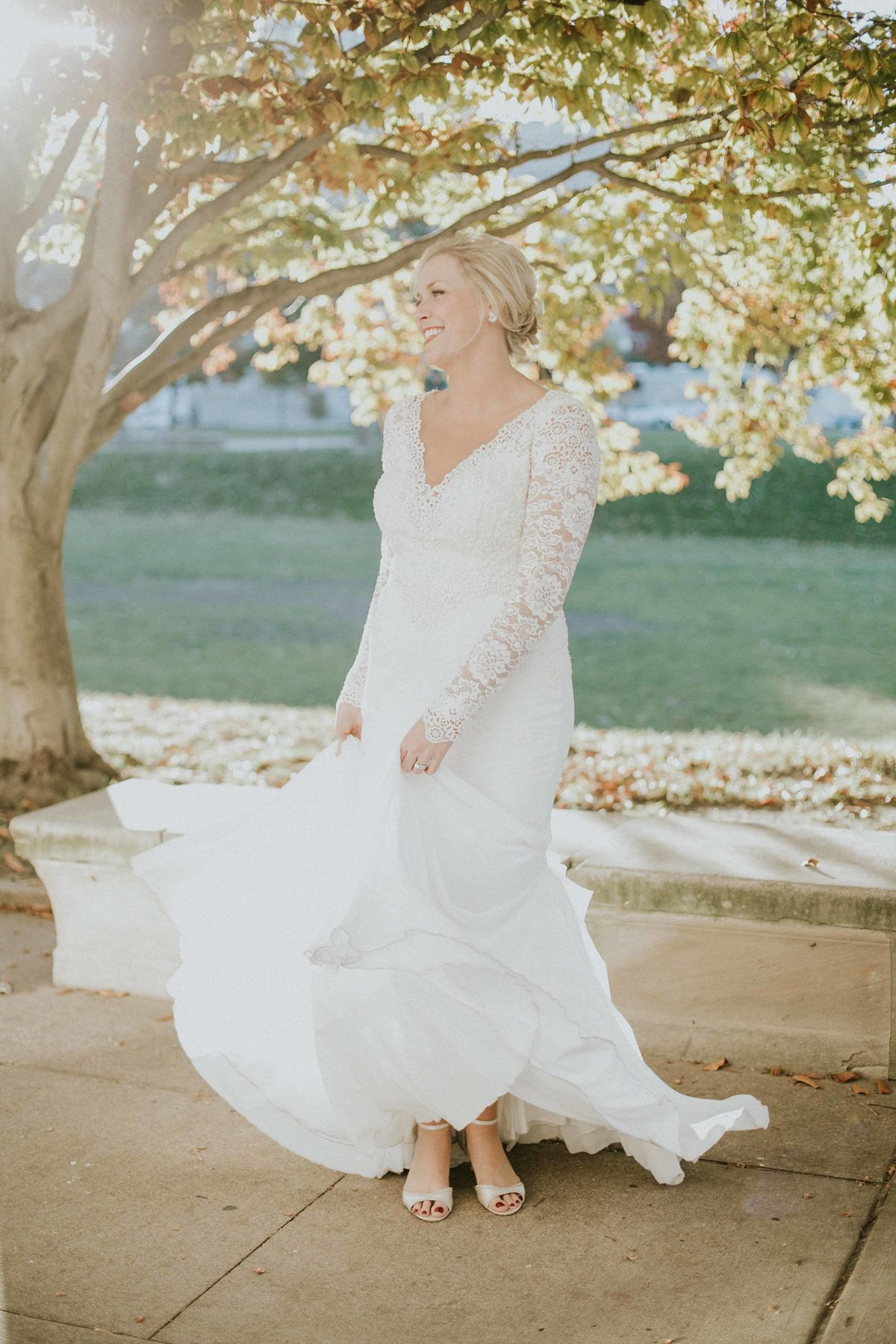 Bride twirls dress in downtown Indianapolis wedding