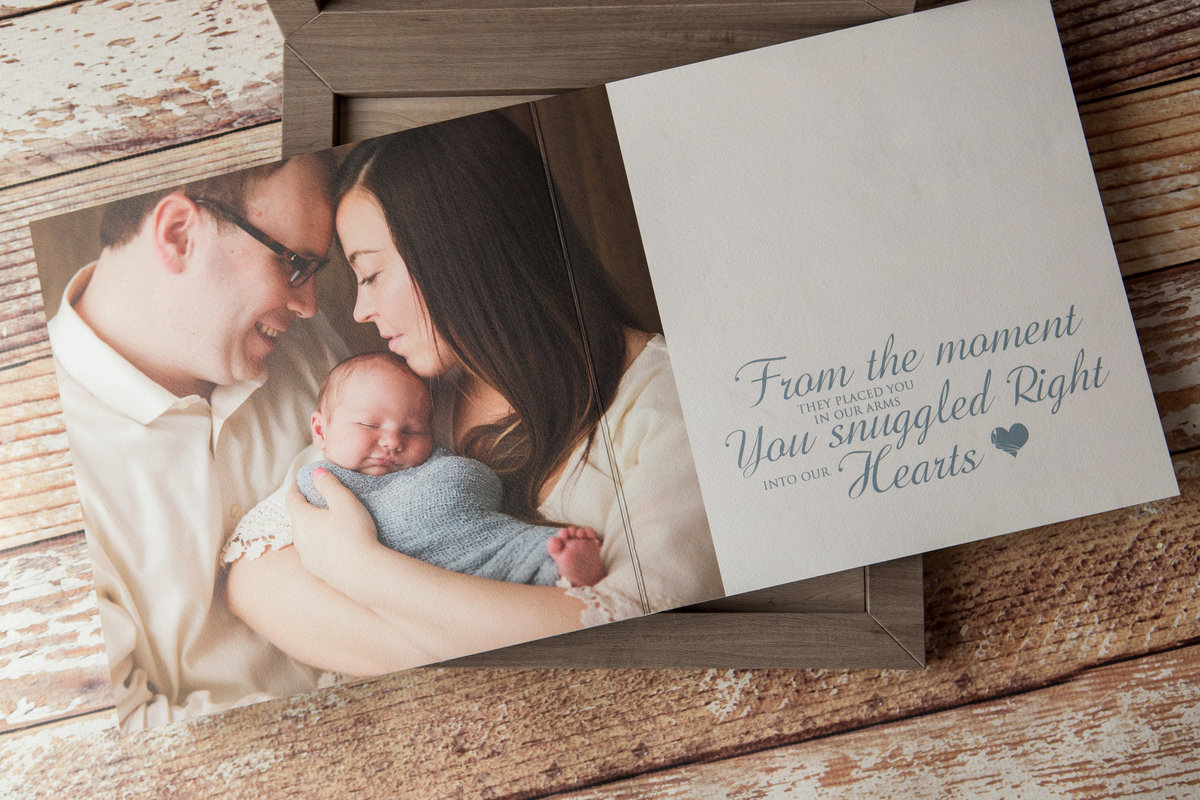 high end heirloom baby book album by hudson valley ny baby photography studio in Cornwall near West Point