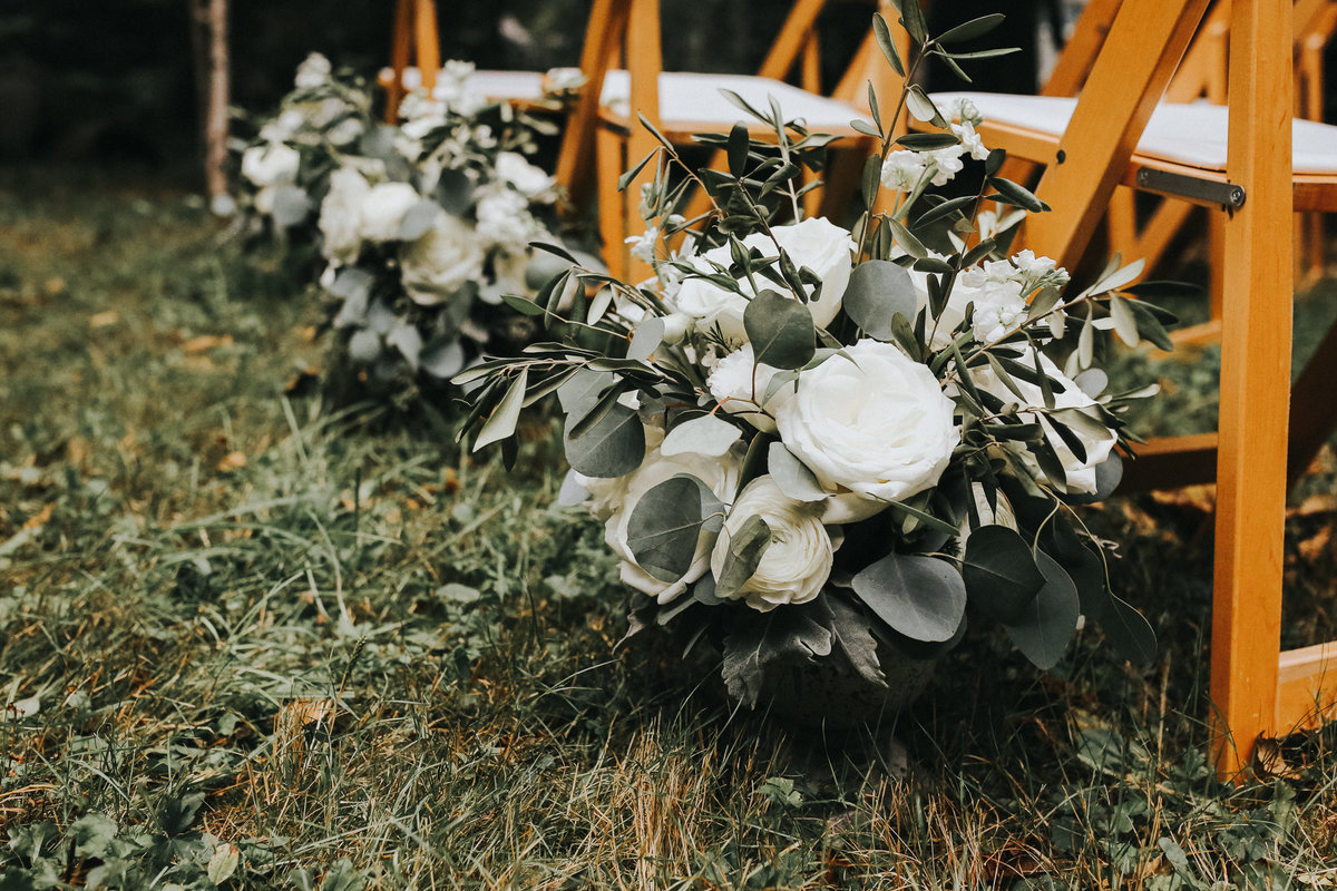 Floral arrangements for ceremony  for elopement wedding in Olympic National Park, Washington