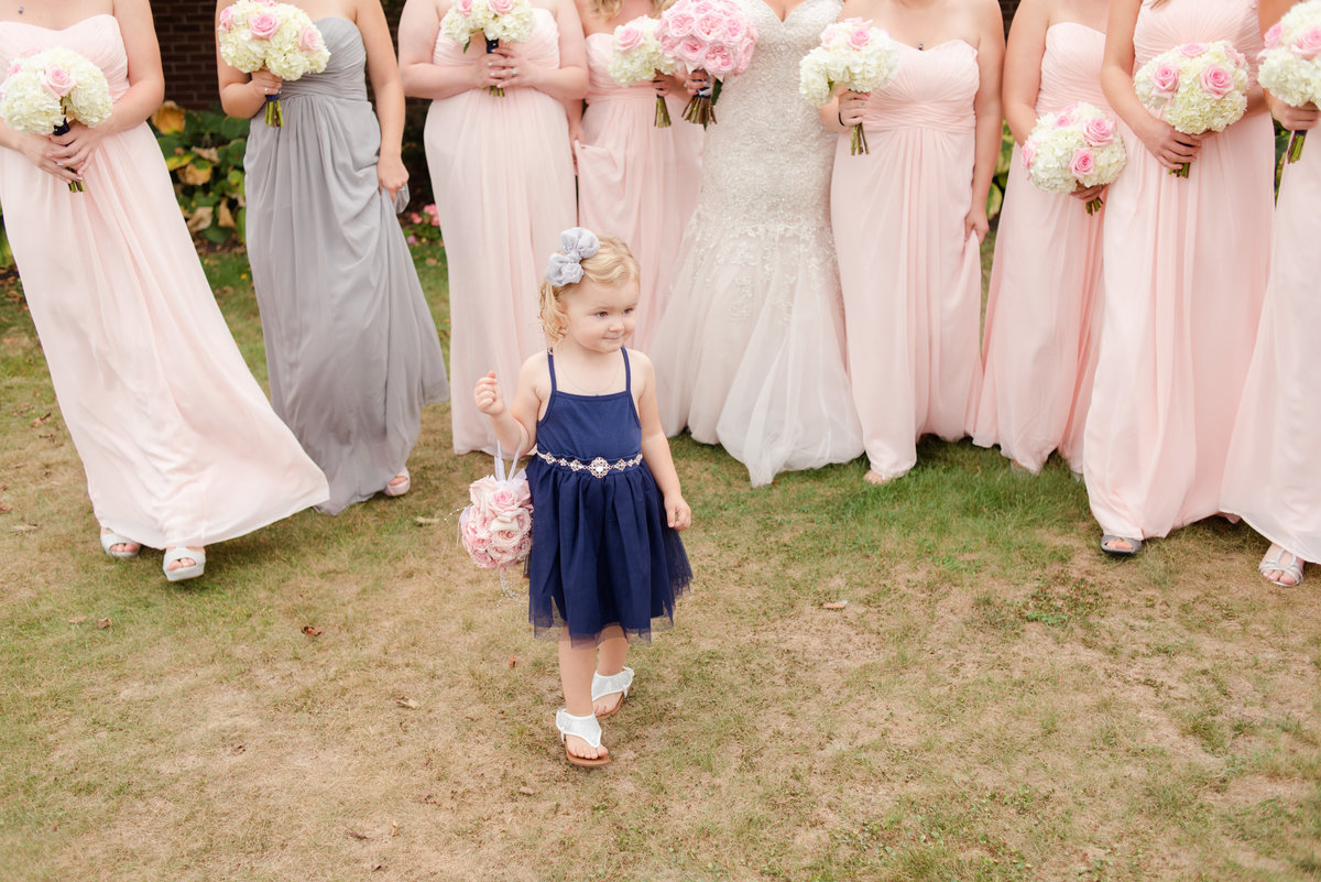 woodlands country club wedding. bridal party wearing blush and silver