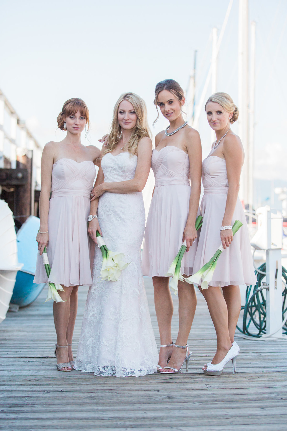 bridesmaids at Vancouver Yacht Club wedding