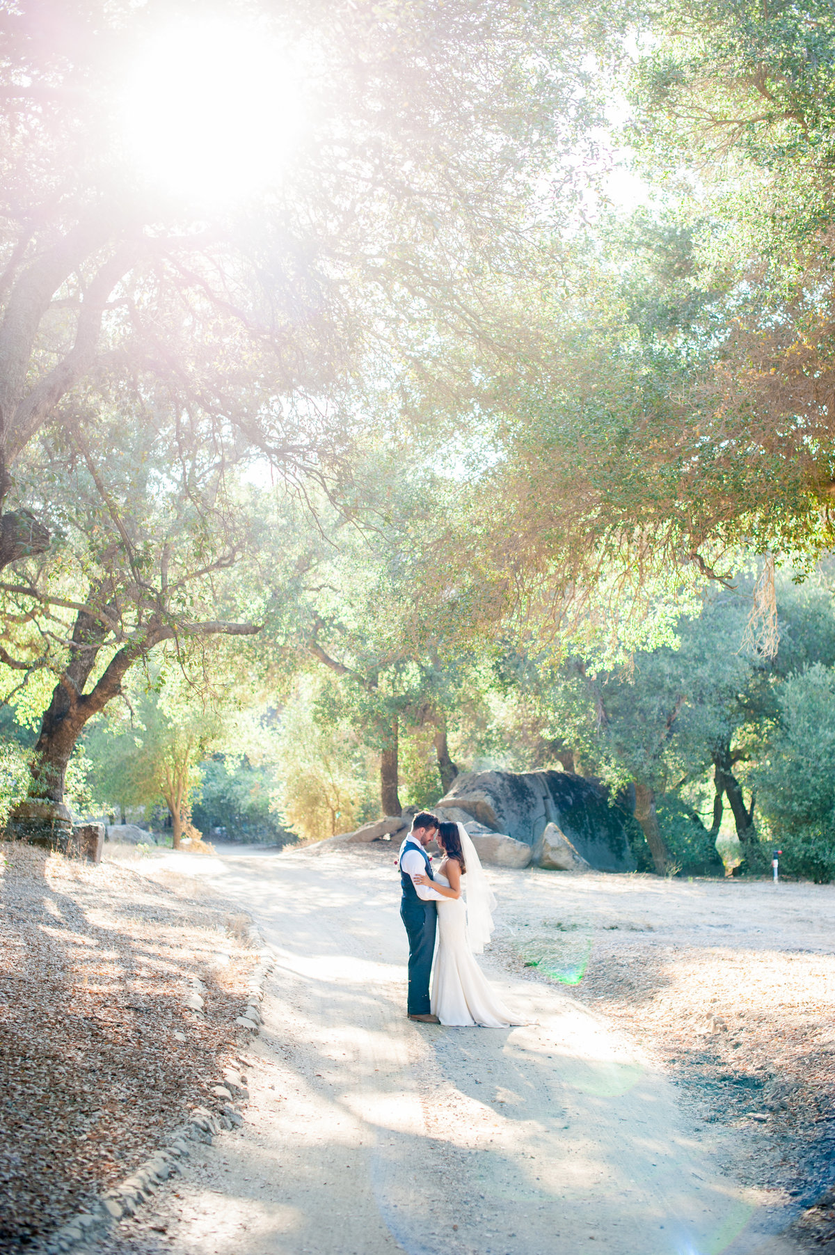 San Diego bride and groom intimate moment outside at Milagro Winery