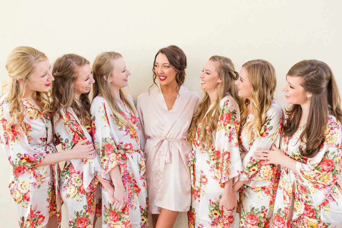 floral bridesmaids getting ready robes