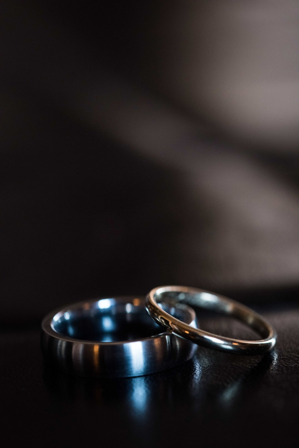 Wedding band closeup, Chicago, dark background.
