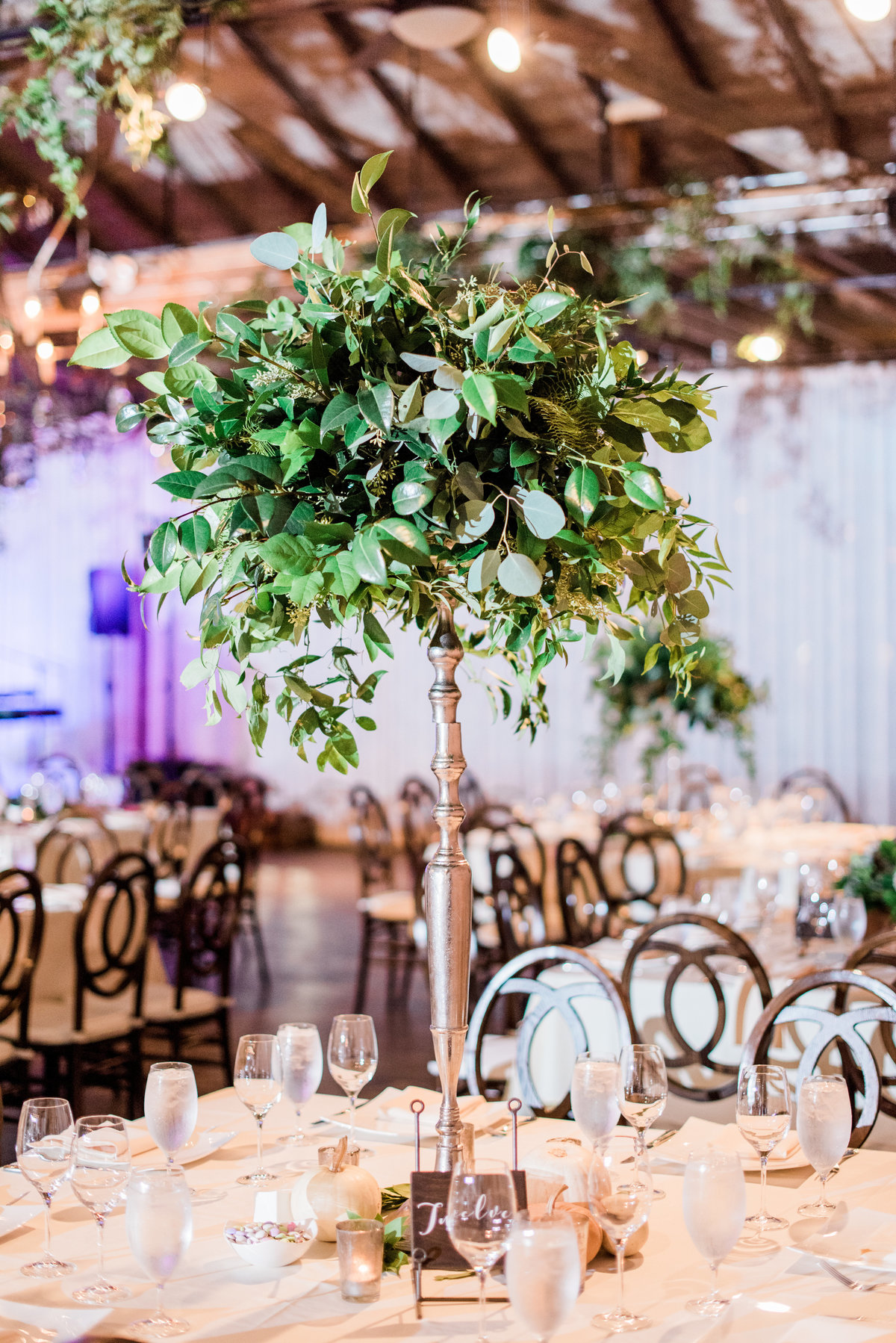 tall green centerpiece reception decor photo