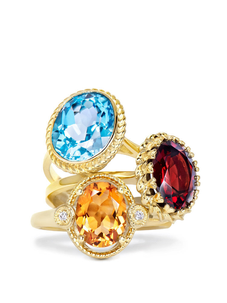 topaz garnet citrine yellow gold rings stacked