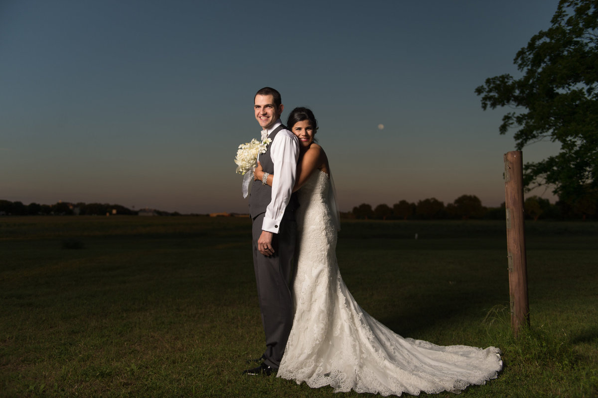 River Rock Event Center Texas Groom and Bride Moonlight
