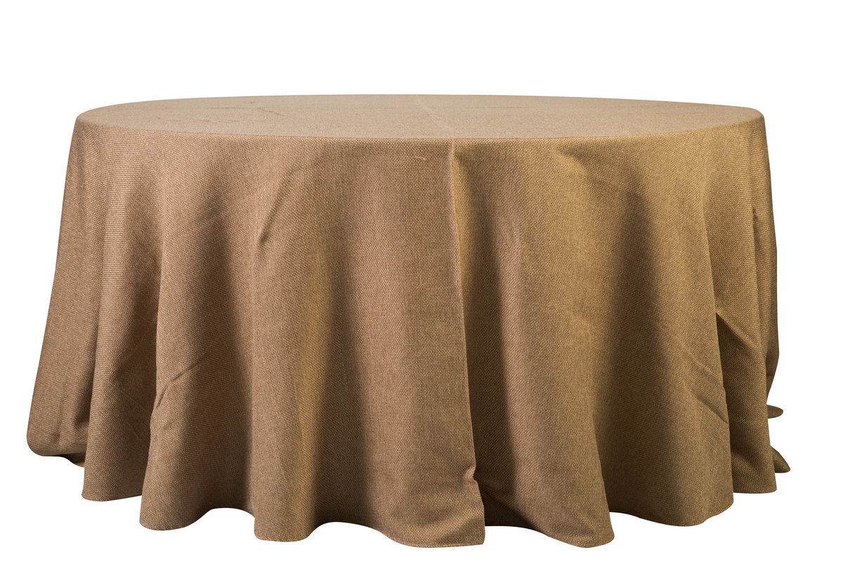 132'' Rd Faux Burlap Tablecloth