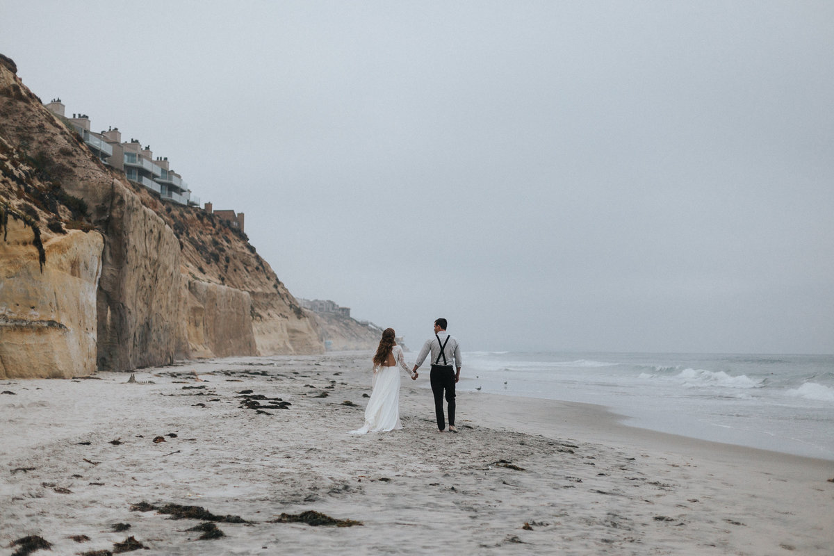 Portrait of a bride and groom during their elopement in San Diego, California.