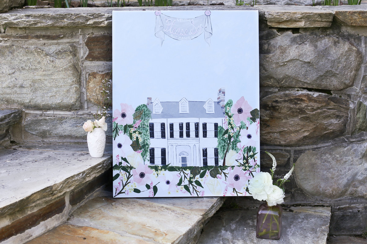 Custom wedding venue alternative guestbook painting featuring Rust Manor House in Virginia