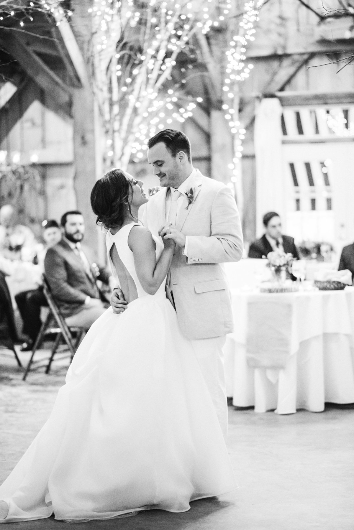 bride and groom first dance, black and white photograph