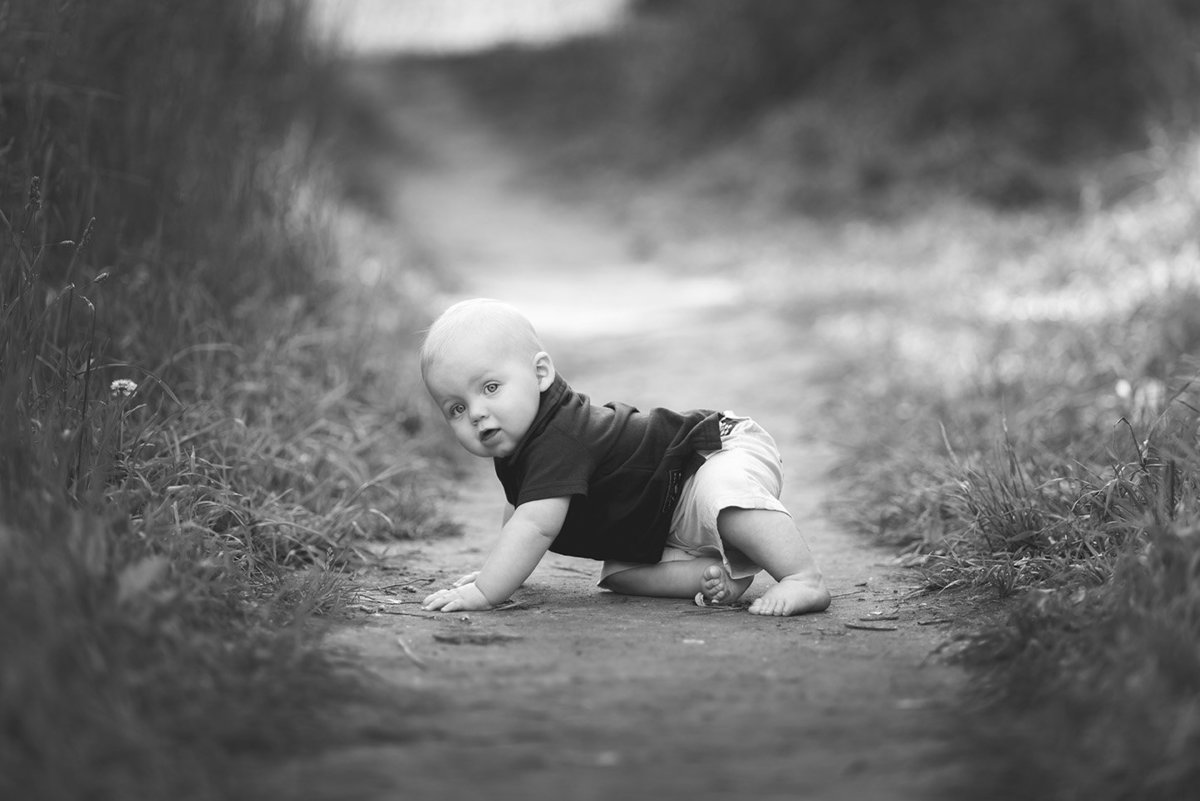 a baby boy crawling along the forest path