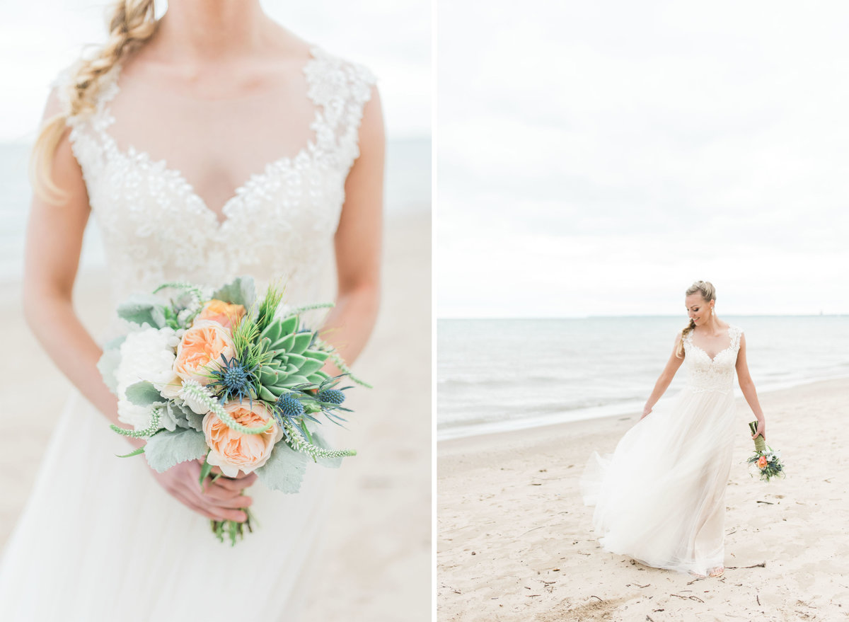 Milwaukee beach wedding photo by Michelle Kujawski Photography