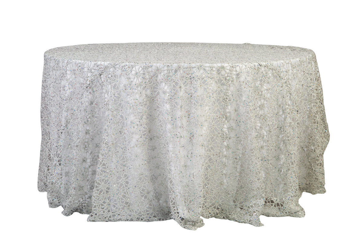120'' Rd Silver Braided Tablecloth