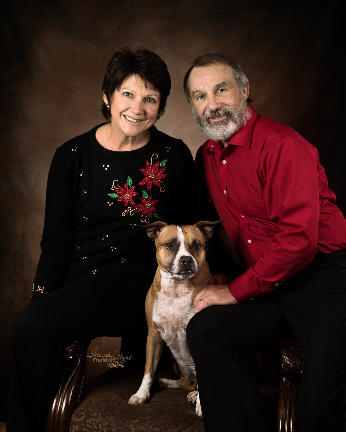 Couple Portrait with  Pet Dog. Photo by Stacy Holbert, Booneville AR