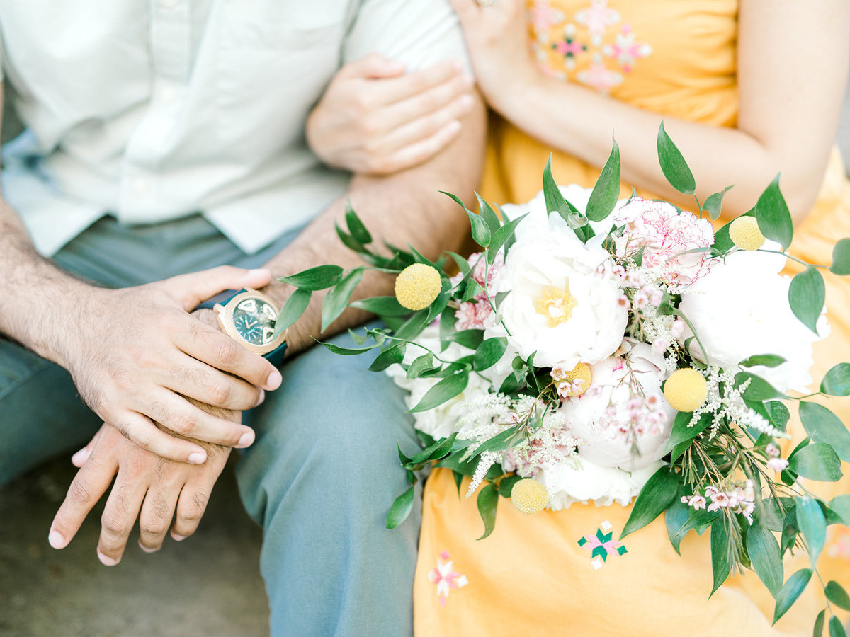 Close up of couple and bouquet
