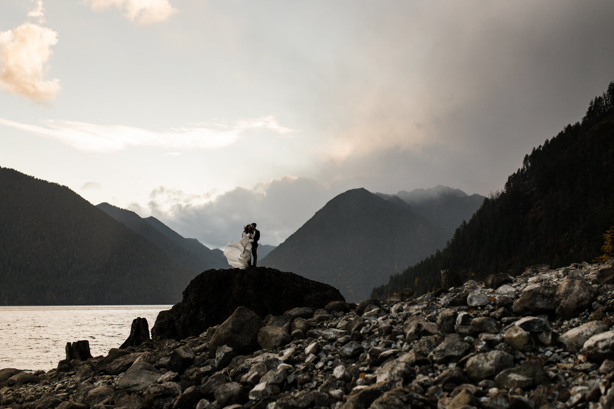 Bride and groom portrait during their elopement at Lake Crescent in the Olympic National Park in Port Angeles Washington.