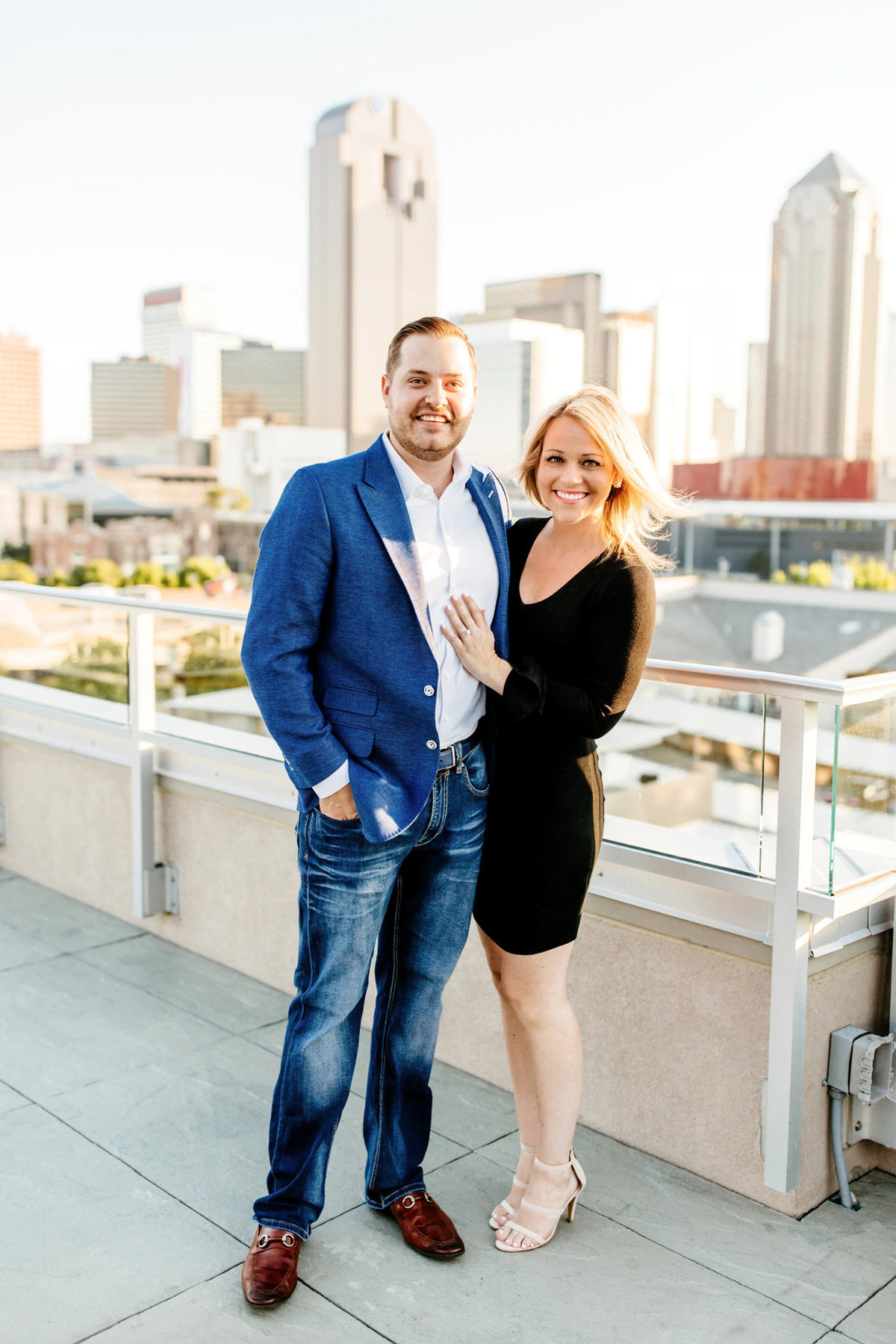 Eric & Megan - Downtown Dallas Rooftop Proposal & Engagement Session-59