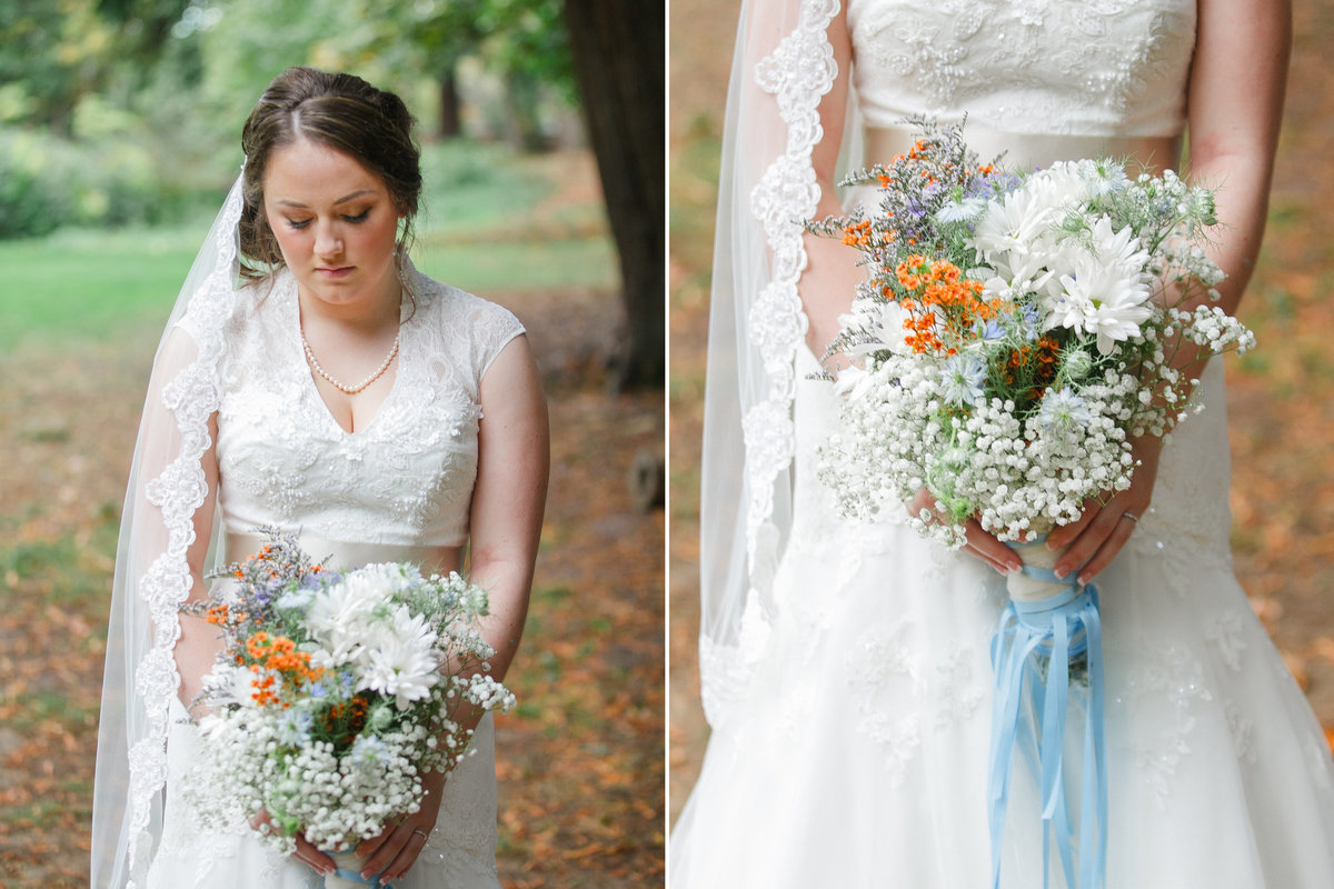 Portrait of Oregon bride looking down at farm styled wedding bouquet | Susie Moreno Photography