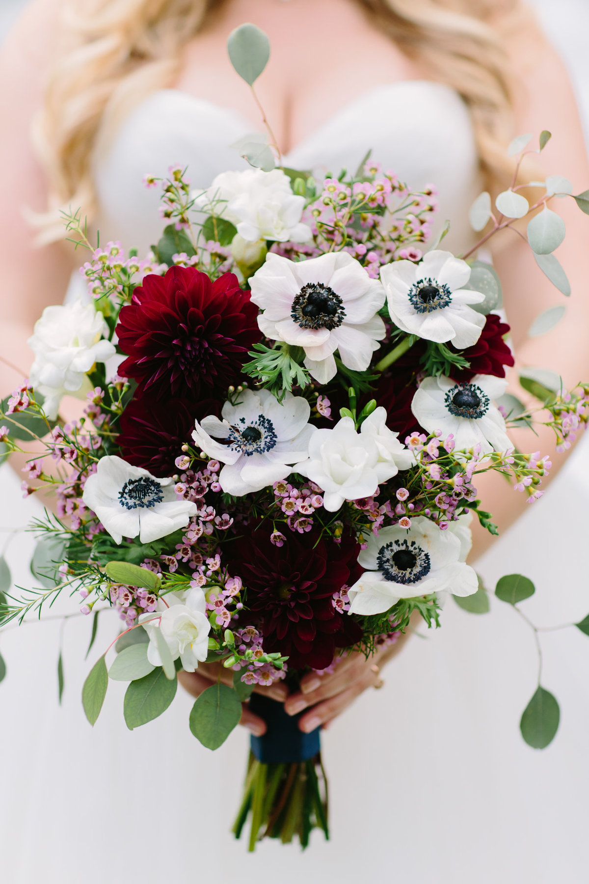 Bridal bouquet with fall tones and poppies