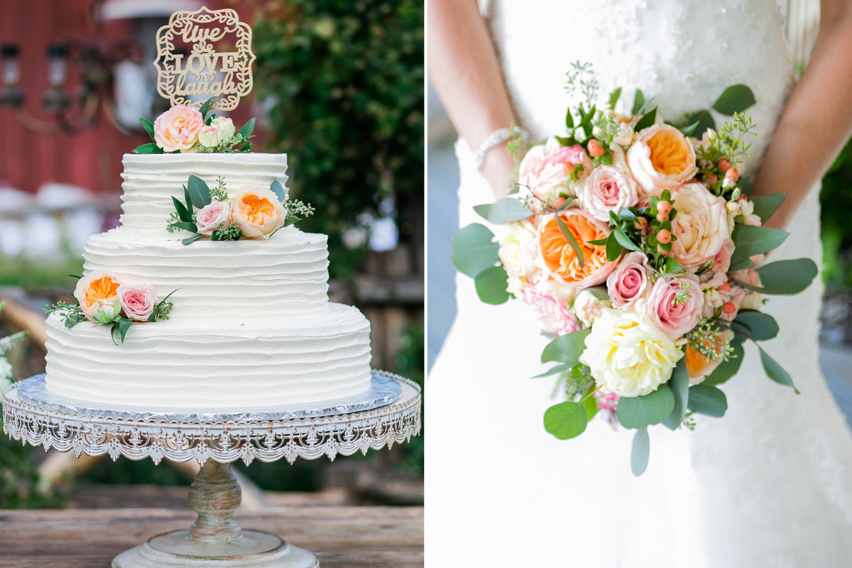 Photograph of wedding details of peach and blush wedding cake and bridal bouquet | Susie Moreno Photography