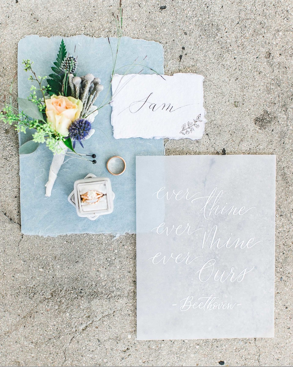Plume & Fete romantic and airy blue and white invitations