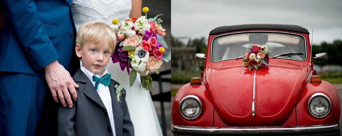 Red Volkswagen Bug as get away car for church wedding in Harper's Ferry West Virginia