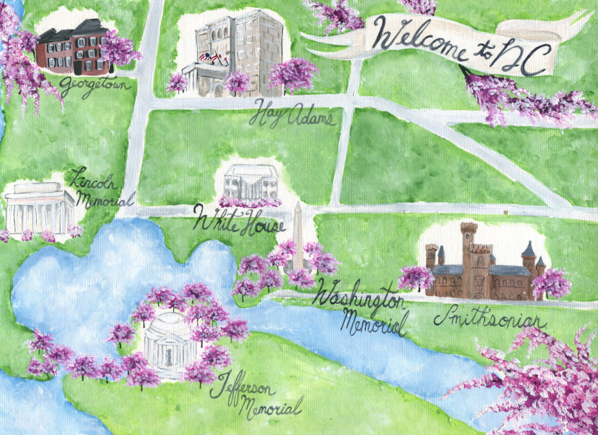 By Brittany Branson Hay Adams Hotel Washington DC Cherry Blossom hand painted wedding stationery