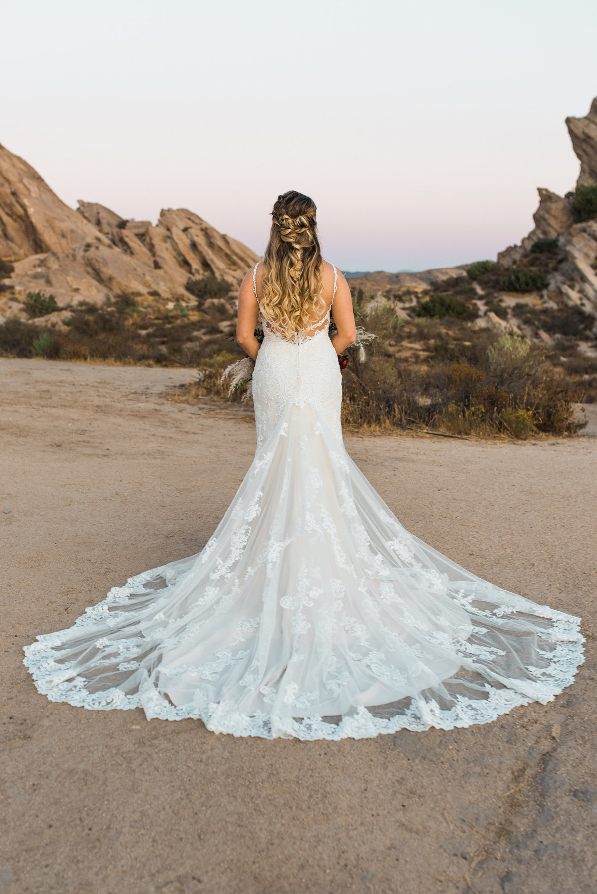 long train wedding gown photo