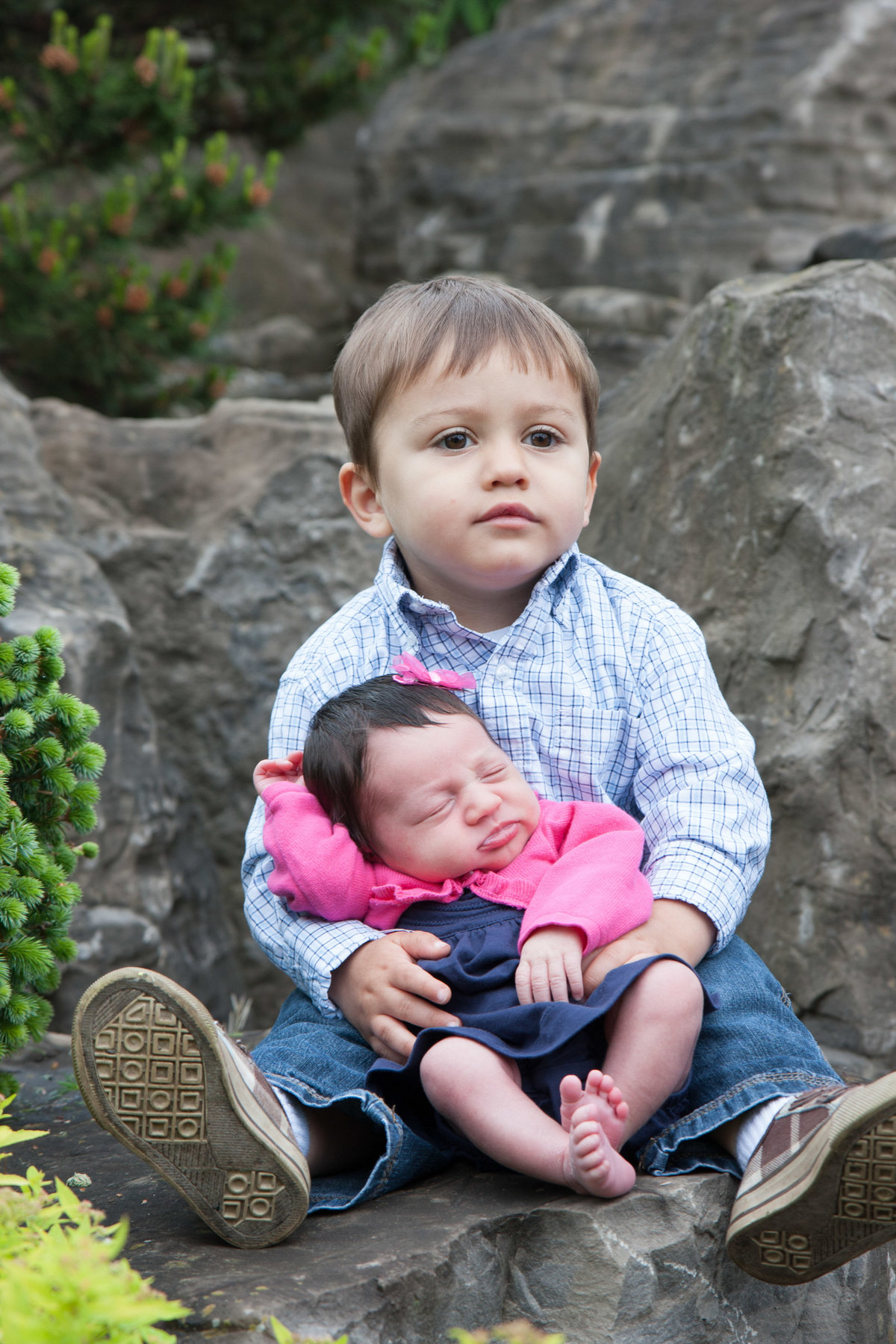 Brother and sister portrait on rocks at arboretum