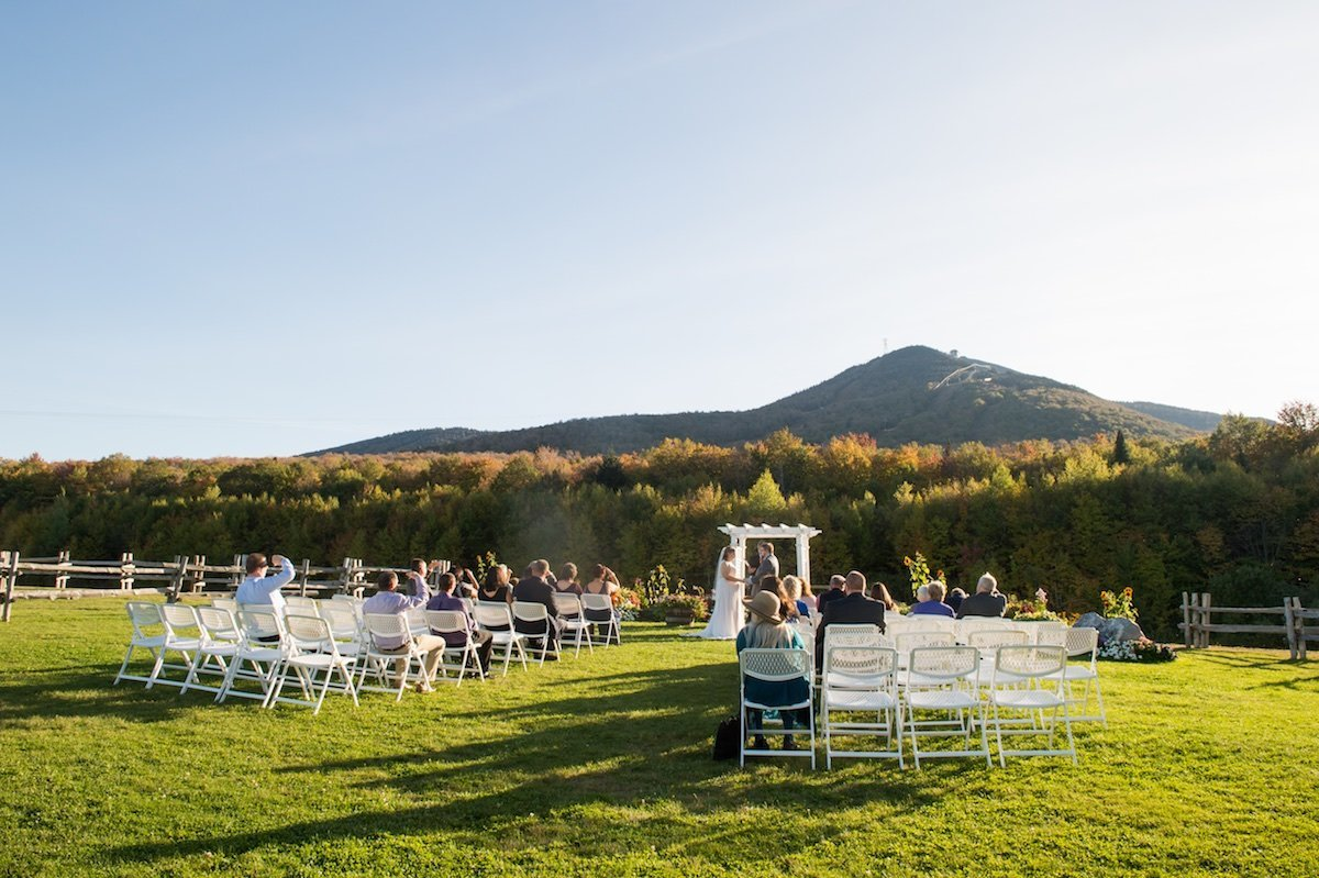 Outdoor mountain wedding ceremony at Jay Peak Resort during fall foliage season 2