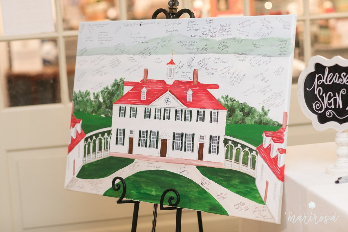 Custom wedding venue alternative guestbook painting featuring George Washington's Mount Vernon