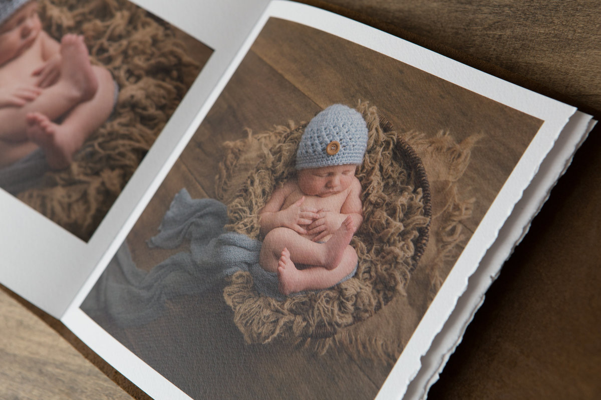 fine art leather newborn baby book album by Hudson Valley NY professional photographer