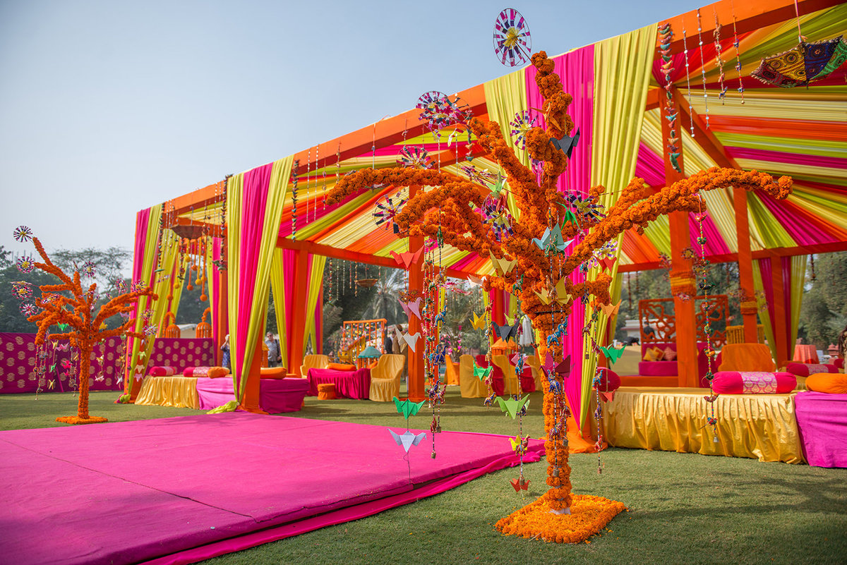 Vibrant Neon colors  chosen for the Mehendi mela at Jai Mahal Palace ,Jaipur