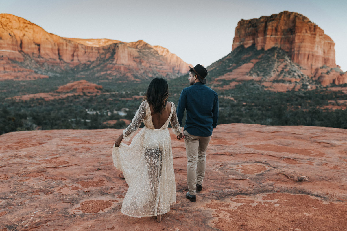 Bride and Groom portrait during their elopement in Sedona Arizona