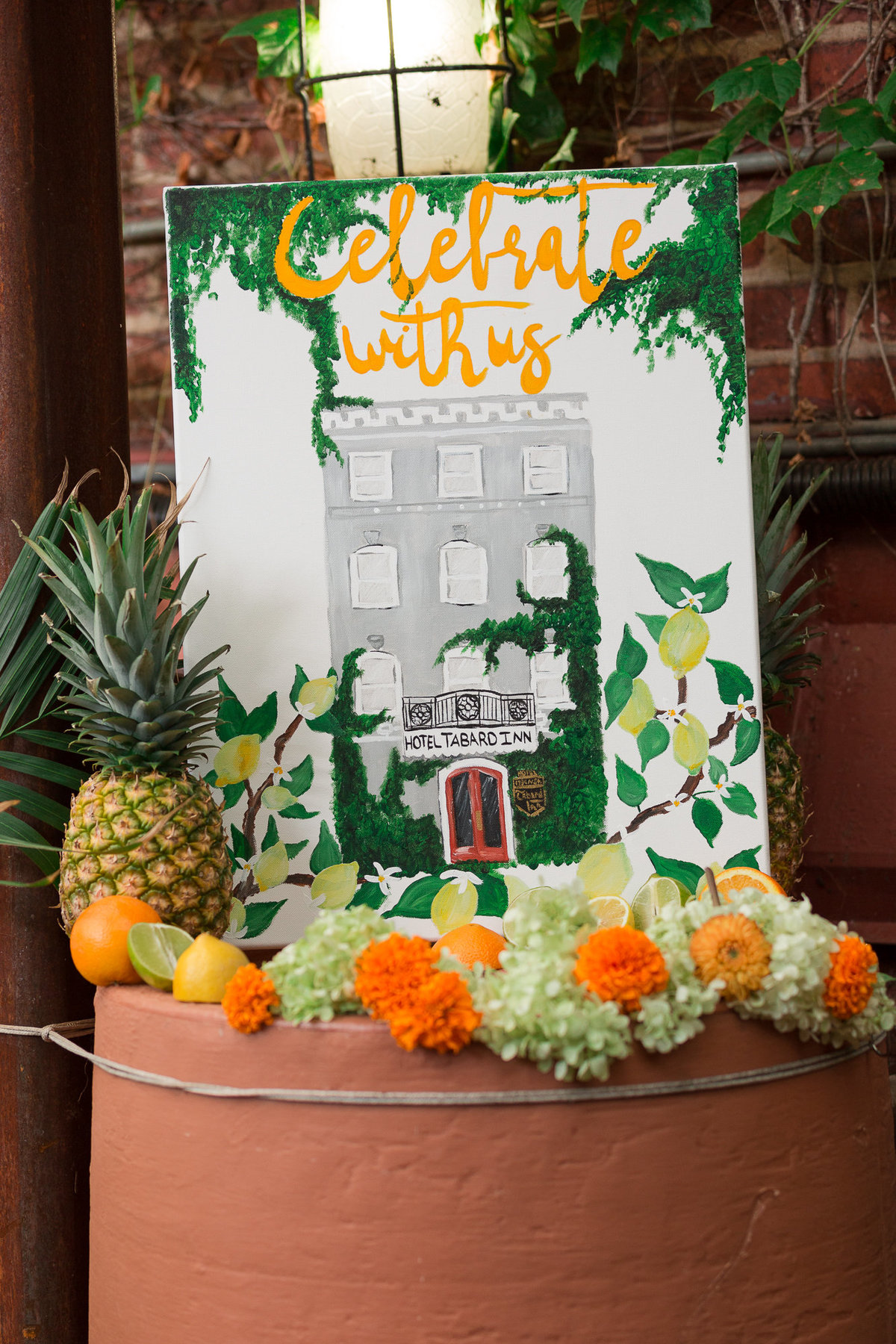Custom Wedding Venue Painting Featuring the Historic Tabard Inn in Washington, DC