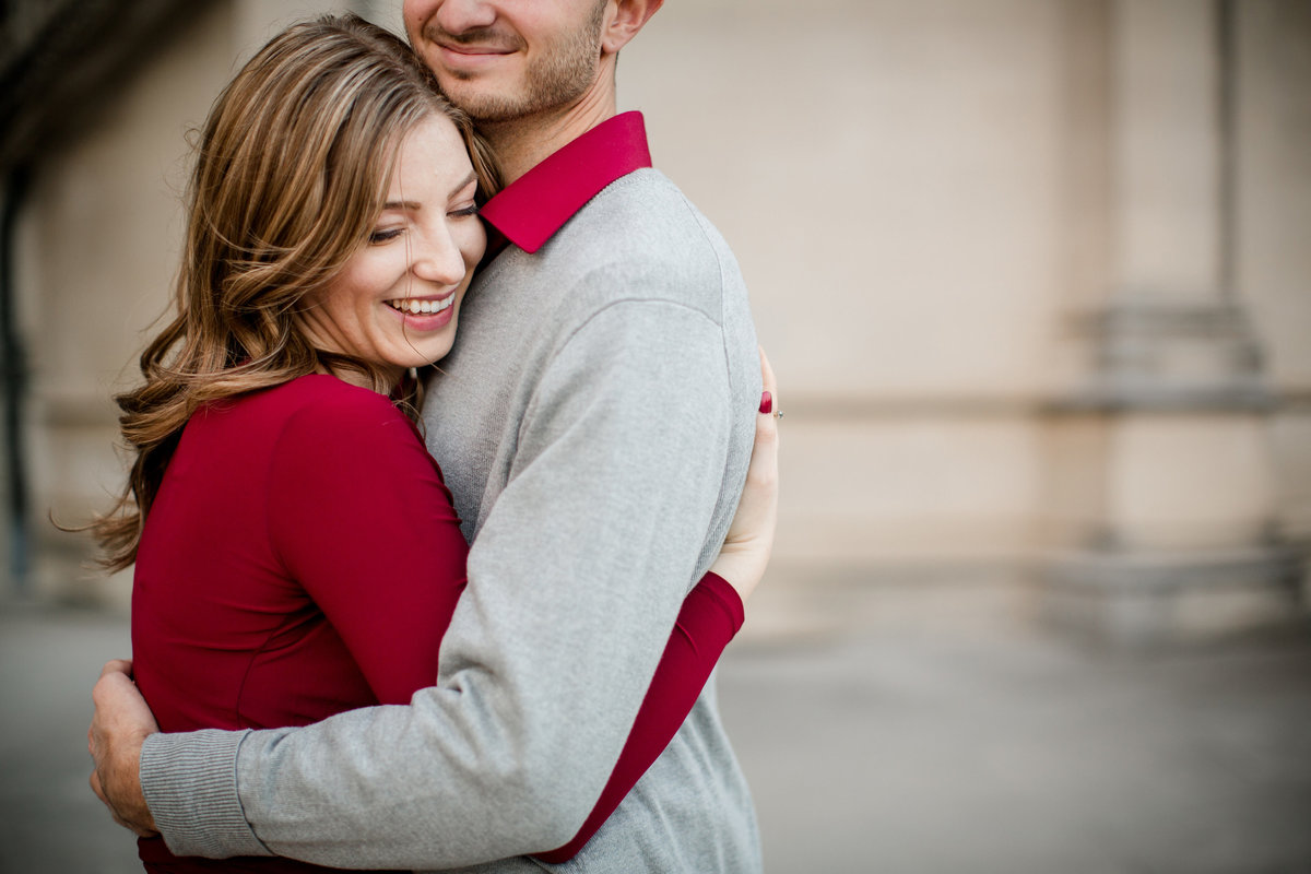 Her cheek against his chest showing his smile at the biltmore engagement photo by Knoxville Wedding Photographer, Amanda May Photos.