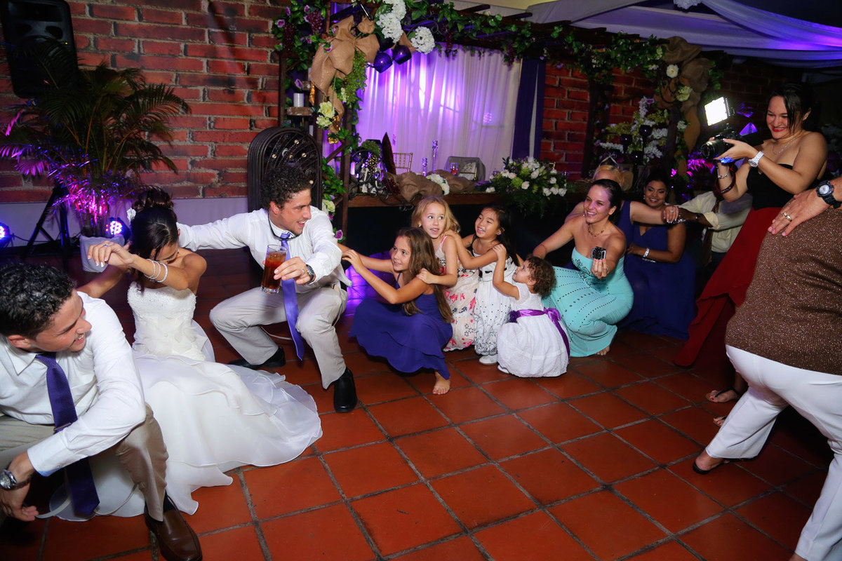 Conga line at wedding reception. Photo by Ross Photography, Trinidad, W.I..