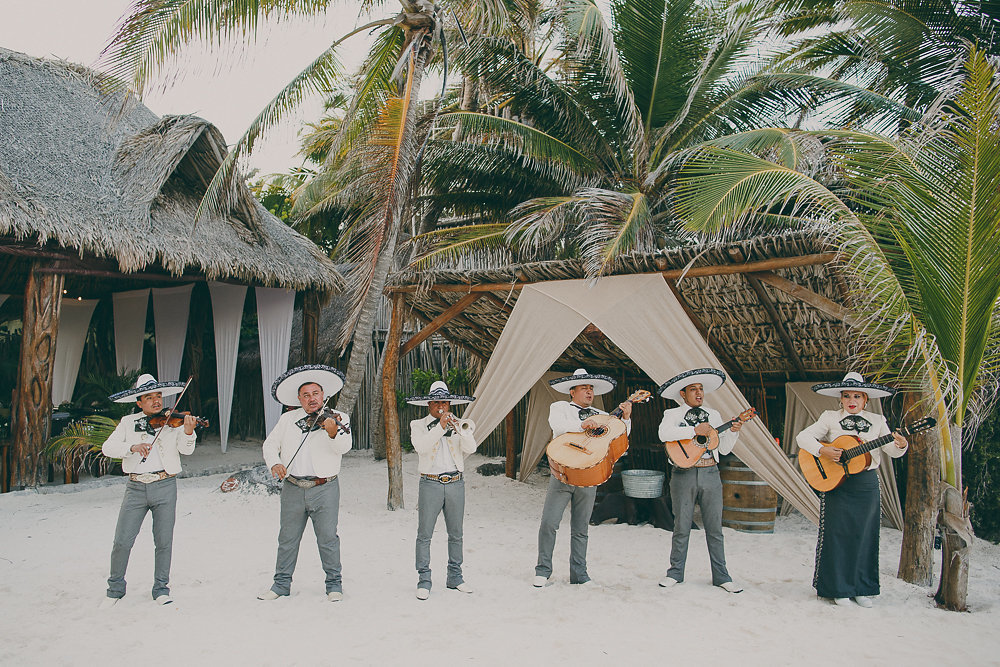 beach wedding at akiin beach club in tulum, mexico with destination wedding planner for love of love