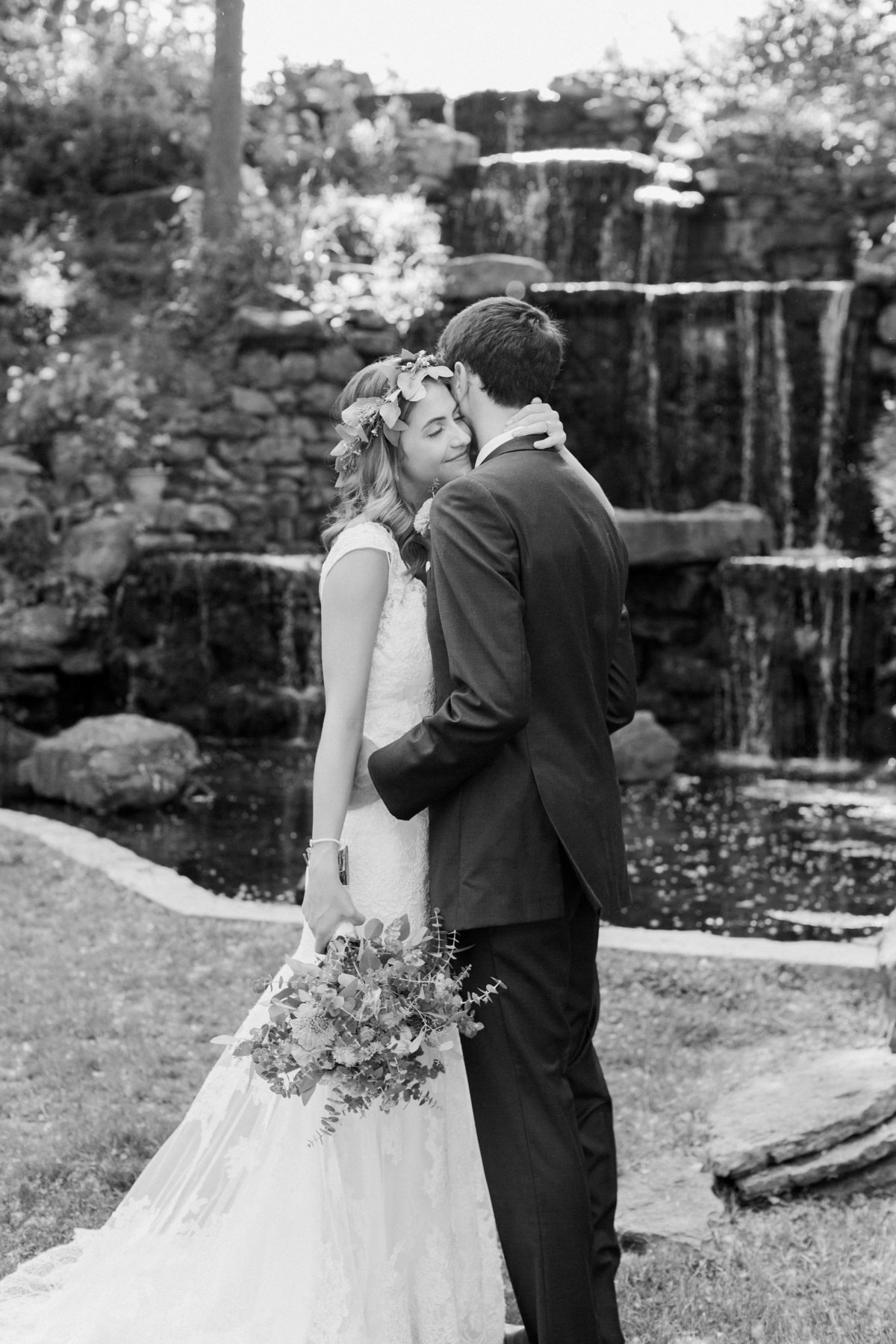 Charley Creek Gardens Wedding Bride and Groom Hugging Photo